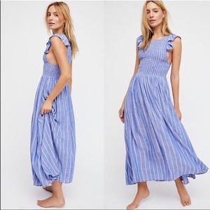 FREE PEOPLE BUTTERFLIES CHAMBRAY DRESS